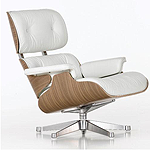 White leather Eames arm chair